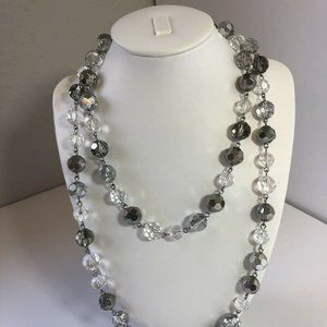 Crystal Silver Shimmer Necklace Beaded Jewelry